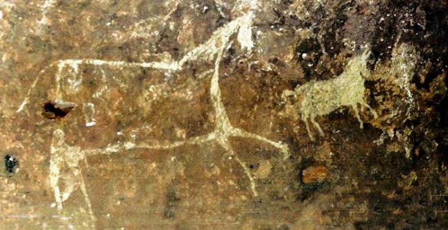 Наскальные рисунки животных - живопись