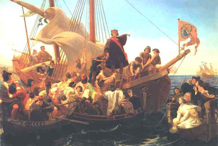 christopher columbus claims new land in the name of spain and god